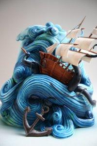 Необычное украшение торта в морской тематике