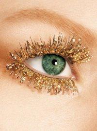 Новогодний макияж: золотые ресницы