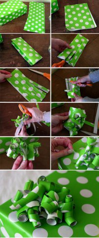 Упаковка подарков: бантик-завитушки
