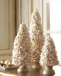 Поделки на Новый год: елочки из ракушек