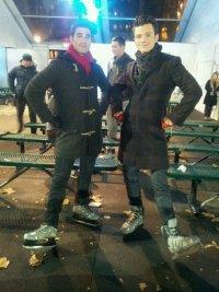 Крис Колфер и Даррен Крисс на съемках Glee в Нью-Йорке