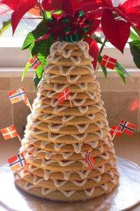 Норвежский рождественский пирог Крансекаке