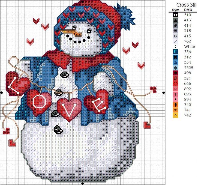 Схема вышивки крестом «Снеговик»
