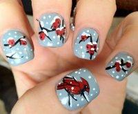 Зимний дизайн ногтей с красным кардиналом