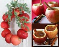 Новогоднее украшение дома яблоками