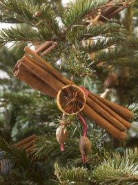Съедобные украшения новогодней елки: палочки корицы