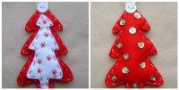 Елочные игрушки из фетра: красно-белая елочка