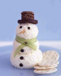 Новогодняя закуска «Сырный снеговик»