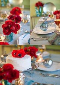 Новогодняя сервировка стола: красный и голубой