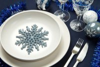 Новогдняя сервировка стола: темно-синий цвет