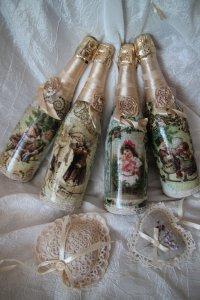 Новогодний декупаж бутылок шампанского
