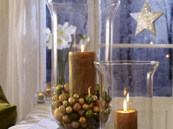 Украшение дома к Новому году свечами