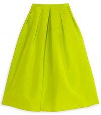 Шелковая юбка Tibi салатового цвета