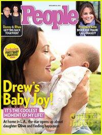 Дрю Бэрримор с дочерью Олив на обложке журнала People