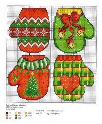 Схема вышивки «Зеленые и красные рукавички»