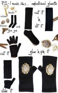 Стльные митенки из носков и перчаток
