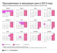 Календарь праздничных и выходных дней в 2013 году