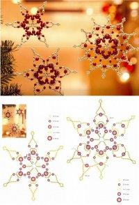 Схема плетения красно-золотистых снежинок из бисера