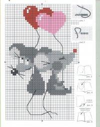 Схема вышивки влюбленных мышек