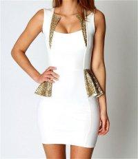 Платье для Нового года: белое с золотым