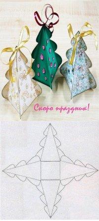 Коробочка-елочка для сладких подарков