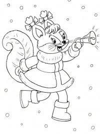 Новогодние раскраски для детей: Белочка