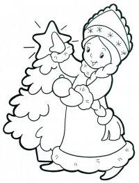 Новогодние раскраски для детей: Снегурочка