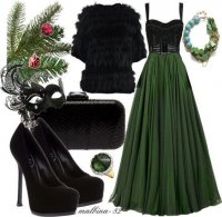 Стильный новогодний образ в черных и зеленых тонах