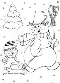 Новогодние раскраски для детей: Снеговик