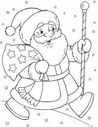 Новогодние раскраски для детей: Дед Мороз