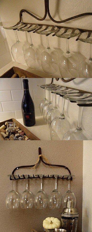 Интересный лайхак для кухни: подставка для посуды из граблей