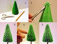 Новогодние поделки для детей: елочка из пластилина