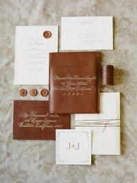 Шоколадно-кремовые приглашения на свадьбу