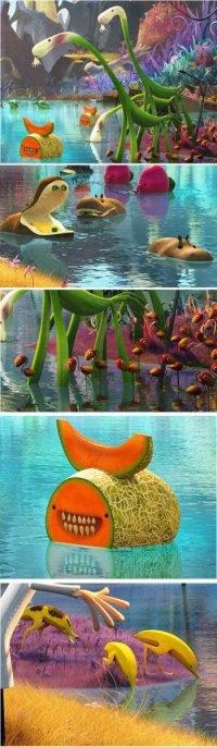 Несколько кадров из мультфильма «Облачно, возможный осадки в виде фрикаделек 2»