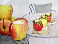 Свеча в подсвечнике из яблока