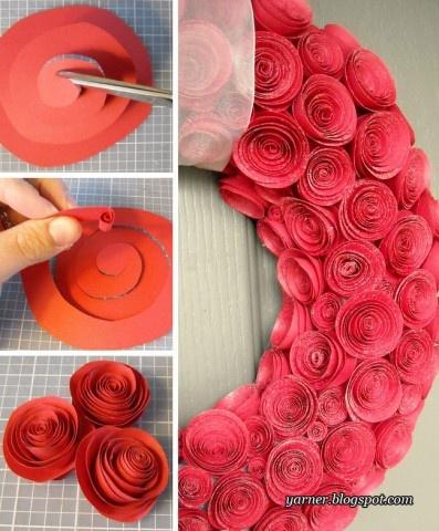 Венок из бумажных роз на День святого Валентина