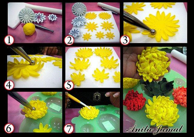 Как сделать хризантему из мастики фото 325
