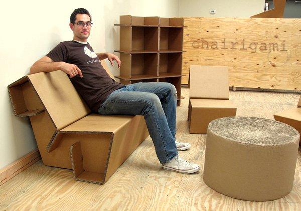 Мебель из гофрированного картона Chairigami