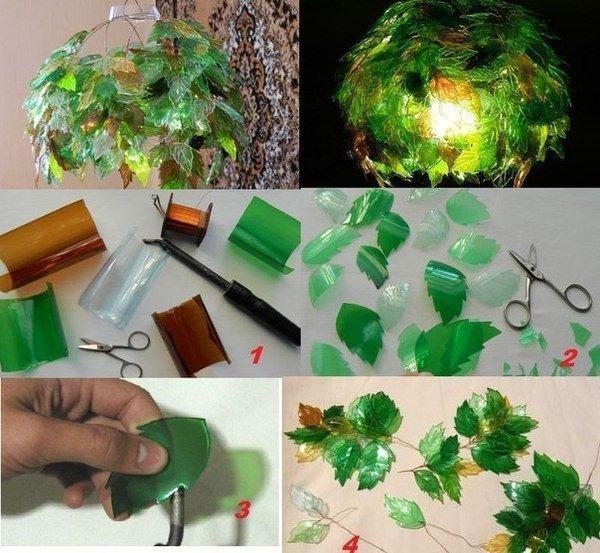 Плафон для лампы из пластиковых бутылок