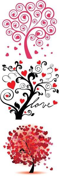 Шаблоны деревьев любви для скрапбукинга