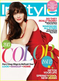 Зои Дешанель на обложке журнала InStyle (апрель 2013)