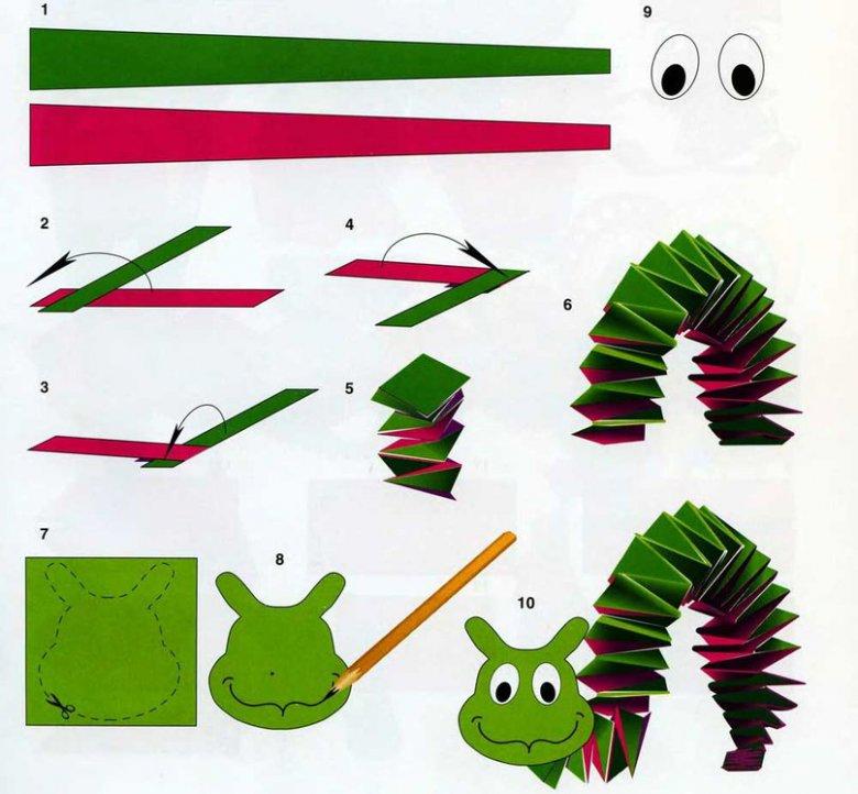 Как сделать гусеницу из бумаги