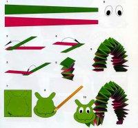 Поделка из бумаги для ребенка: гусеница