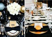 Вариант сервировки стола в черно-белой гамме