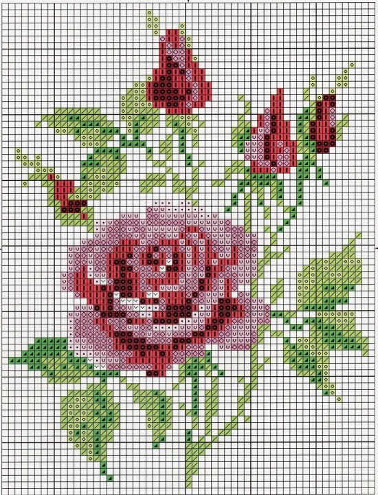 Простая схема вышивки крестом розы