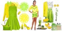 Сочетание зеленого и желтого в одежде
