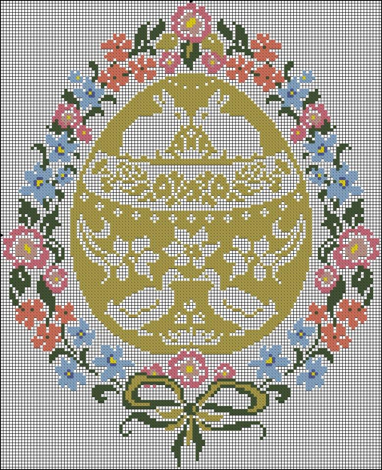 Схема вышивки пасхального яйца