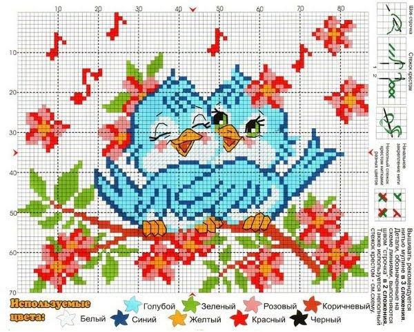 Простая схема вышивки: весенние птички