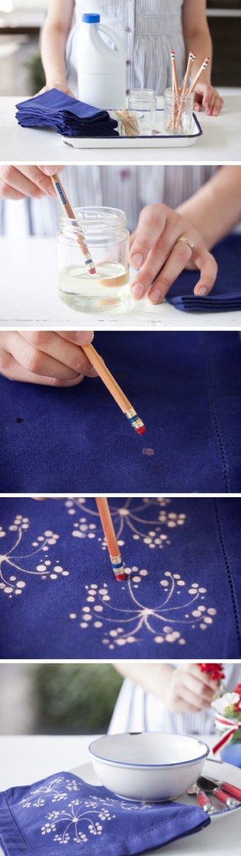 Украшаем ткань при помощи отбеливателя