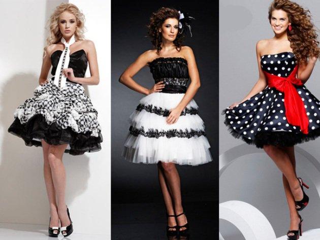 Черно-белое платье на выпускной